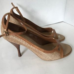 Enzo Angiolini Woven Brown & Beige High Heel Shoes